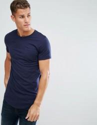 Produkt Longline T-Shirt In Slub Cotton - Navy