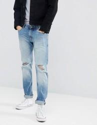 Produkt Regular Fit Jeans With Distressed Knee Details - Blue