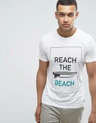 Produkt T-Shirt With Beach Print - White