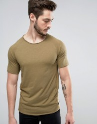 Produkt T-Shirt with Raw Curved Hem and Raglan Sleeve - Beige
