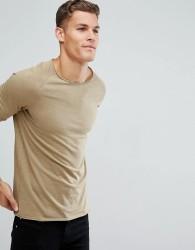 Produkt T-Shirt With Roll Hem and Raglan Sleeve - Beige