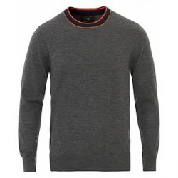 PS by Paul Smith Knitted Stripe Crew Neck Anthracite