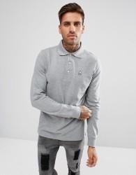 Psycho Bunny Classic Long Sleeve Polo Regular Fit in Grey Marl - Grey