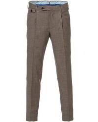 PT01 Gentleman Fit Pleated Houndstooth Wool Trousers Light Brown men 56 Brun