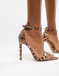 Public Desire Ace leopard patent heeled sandals - Multi