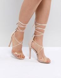 Public Desire Aster Clear Strappy Sandals - Beige