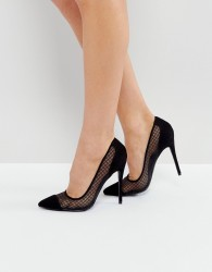 Public Desire Black Mesh Heeled Court Shoes - Black