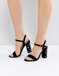 Public Desire Fairview Black Suede Pearl Detail Heeled Sandals - Black
