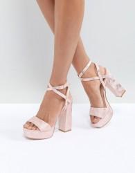 Public Desire Rover Rose Gold Platform Heeled Sandals - Beige
