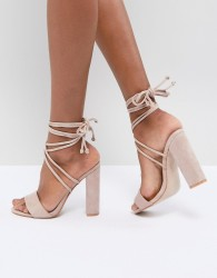 Public Desire Suzu Tie Up Block Heeled Sandals - Beige
