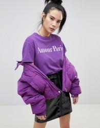 Pullbear amour paris slogan t shirt - Purple