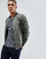 Pull&Bear Bomber Jacket In Green - Green