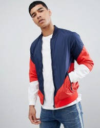 Pull&Bear Bomber With Colour Block In Navy - Navy