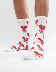 Pull&Bear Broken Heart Sock - Black
