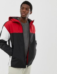 Pull&Bear colour block hooded jacket in red - Red