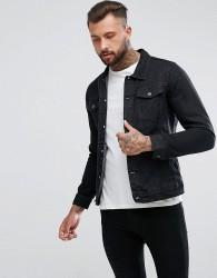 Pull&Bear Denim Jacket In Black - Black