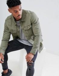 Pull&Bear denim jacket in khaki - Green