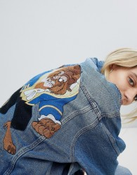 Pull&Bear Oversized Beauty & The Beast Denim Jacket - Blue