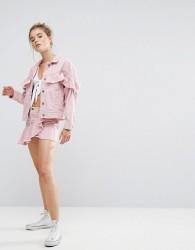 Pull&Bear Pink Denim Ruffle Skirt - Pink