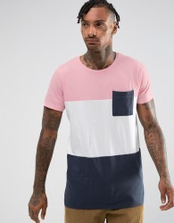 Pull&Bear T-Shirt With Colour Block In Pink And Navy - Pink