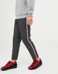 Pull&Bear trousers in grey with multi coloured side stripe - Grey