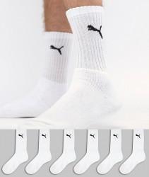 Puma 6 Pack Regular Crew Socks In White - White