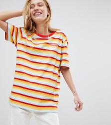 Puma Exclusive Oversized Organic Cotton Rainbow Stripes T-Shirt - Red