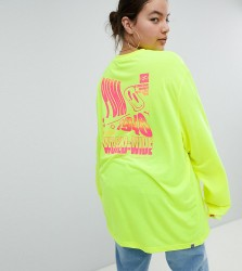 Puma Exclusive To ASOS Plus Long Sleeve T-Shirt With Techno Logo In Neon Yellow - Yellow