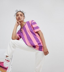 Puma Exclusive To ASOS T-Shirt In Bold Pink And Purple Stripe - Pink