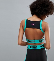 Puma Exclusive To Asos Zip Up Bra Top In Black And Green - Green