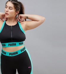Puma Plus Exclusive To Asos Zip Up Bra Top In Black And Green - Green