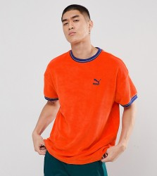 Puma Towelling T-Shirt In Orange Exclusive To ASOS - Red