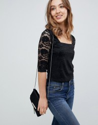 QED London 3/4 Sleeve Lace Top - Black