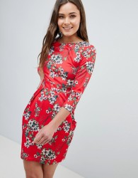 QED London 3/4 Sleeve Tulip Dress In Floral Print - Red