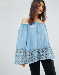 QED London Bardot Lace Hem Top - Blue