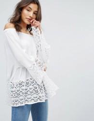 QED London Bardot Lace Hem Top - White