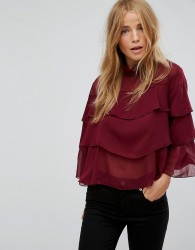 QED London Blouse With Frill Overlay - White