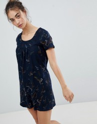 QED London Butterfly Printed Tunic Dress - Navy