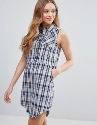 QED London Check Sleeveless Shirt Dress - Navy