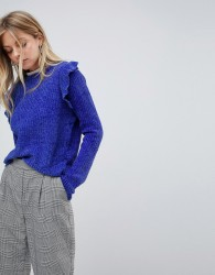 QED London Chenille Jumper With Frill Detail - Blue