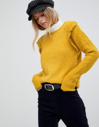 QED London Chenille Jumper With Frill Detail - Gold
