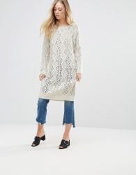 QED London Chunky Knit Jumper Dress - Beige