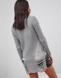 QED London Distressed Jumper - Grey