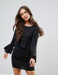QED London Dress With Frill Detail - Black