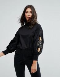 QED London Embellished Sleeve Top - Black