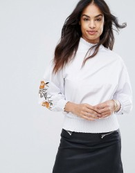 QED London Embellished Sleeve Top - White
