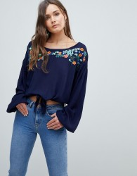 QED London Embroiderred Top With Tie Detail - Navy