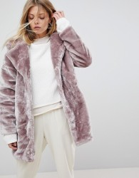 QED London Faux Fur Coat - Pink