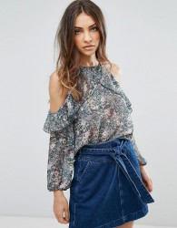 QED London Floral Frill Cold Shoulder Top - Green