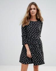 QED London Floral Frill Smock Dress - Black